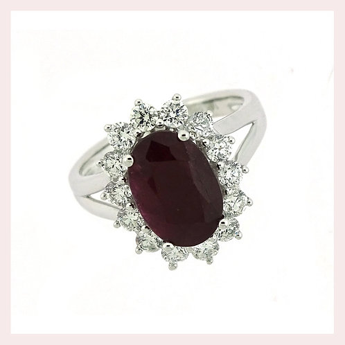 14kt White Gold Ruby Ring With Diamond Halo