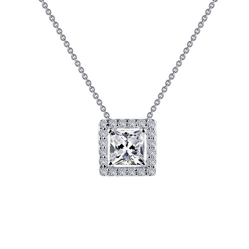 Sterling Silver Princess Cut Halo Necklace