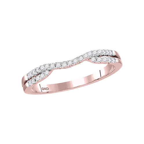 14kt Rose Gold Womens Round Diamond Contoured Enhancer Wedding Band Ring 1/6 Ctw