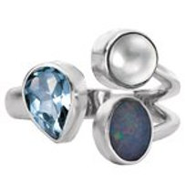 Sterling Silver Topaz, Opal & Pearl Ring