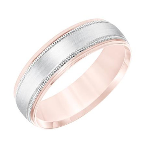 14k Two-Tone Rose and White Gold Men's Wedding Band