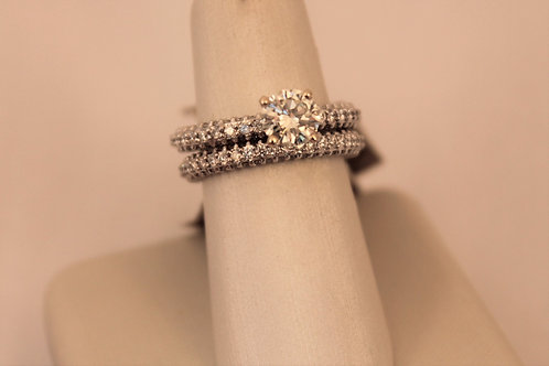 14kt White Gold Infinity Solitaire Wedding Set