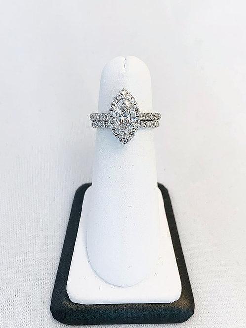 14k White Gold 2.25ct Marquise Diamond Wedding Set
