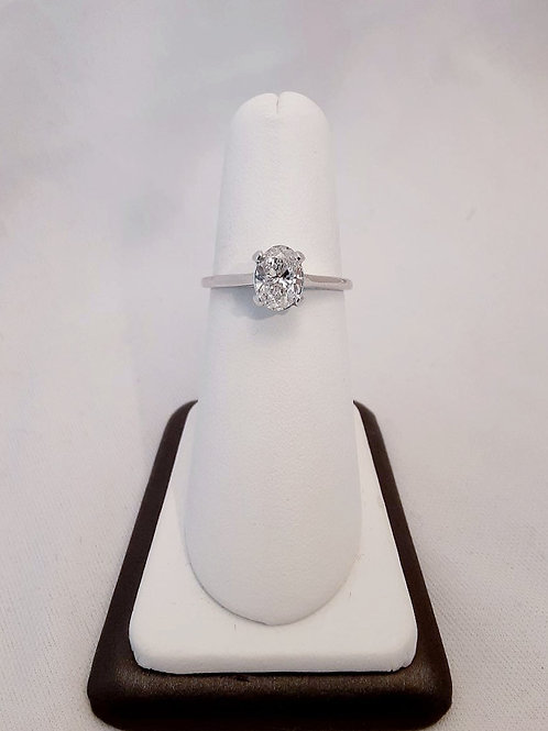 14k White Gold 1.00ct Oval Diamond Solitaire