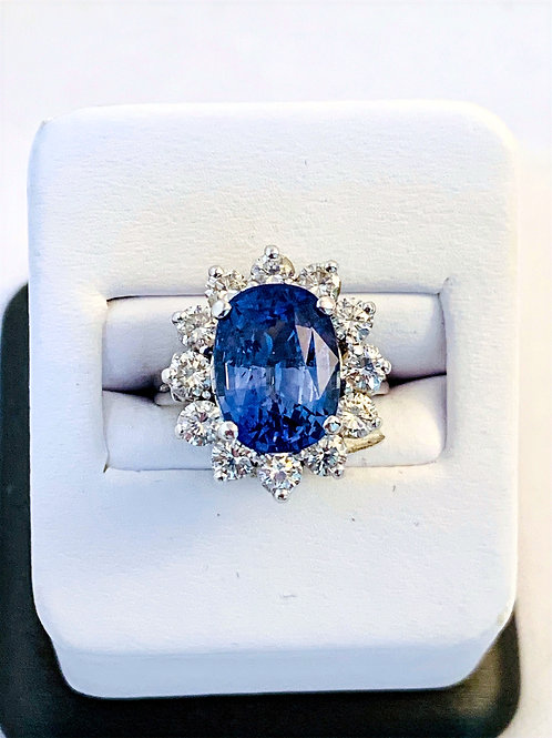 14k White Gold Ceylon Sapphire and Diamond Ring