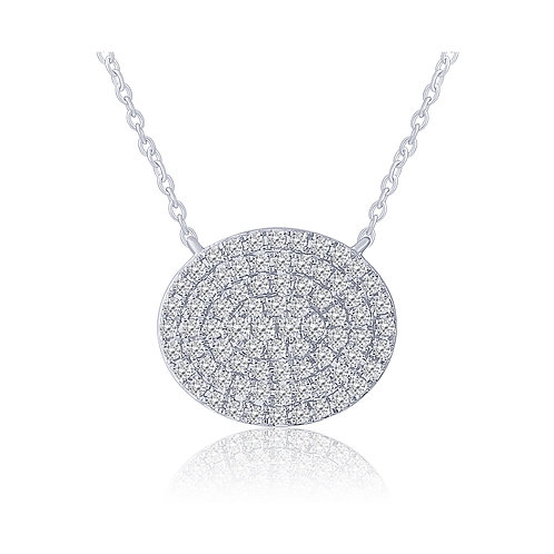14k White Gold Pave Set Oval Diamond Pendant