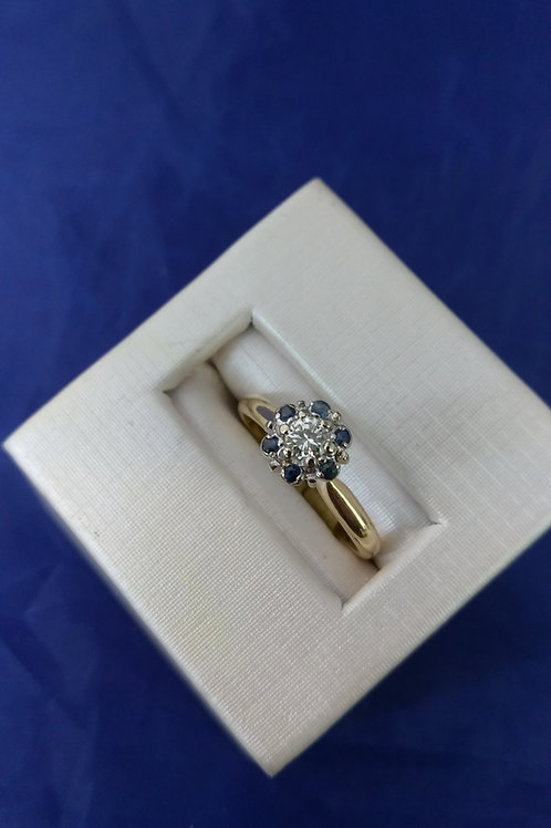 Diamond Solitaire & Blue Sapphire Accented Halo Solitaire