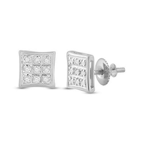 10kt White Gold Mirco-Pave Round Diamond Square Earrings