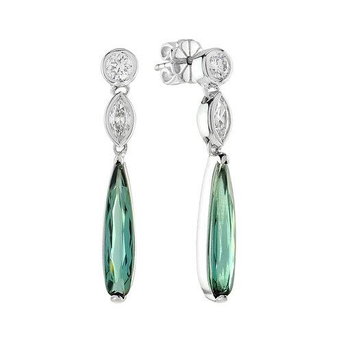 14kt White Gold Unique Green Tourmaline & Diamond Dangle Earrings