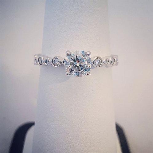 14k White Gold, 0.98ct Round Diamond Engagement Ring