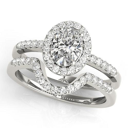 14k White Gold 0.99ct Oval Diamond Halo Wedding Set