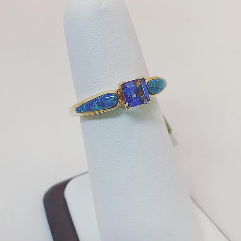 14k Yellow Gold Tanzanite and Opal Ring