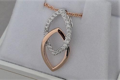 14k Rose & White Gold Diamond Necklace
