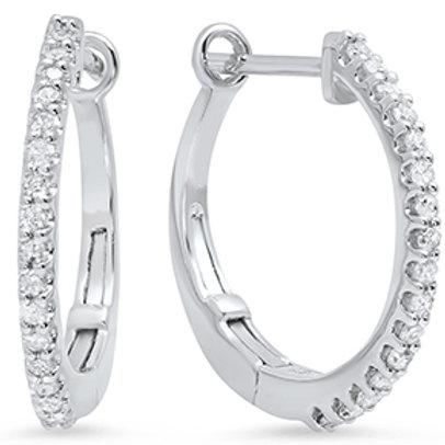 10kt White Gold Small Dimaond Hoop Earrings