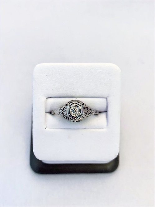 18k White Gold 0.12ct Old Miners Cut Diamond Engagment Ring