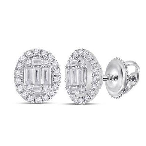14k White Gold 3/8ct Baguette Oval Diamond Earrings