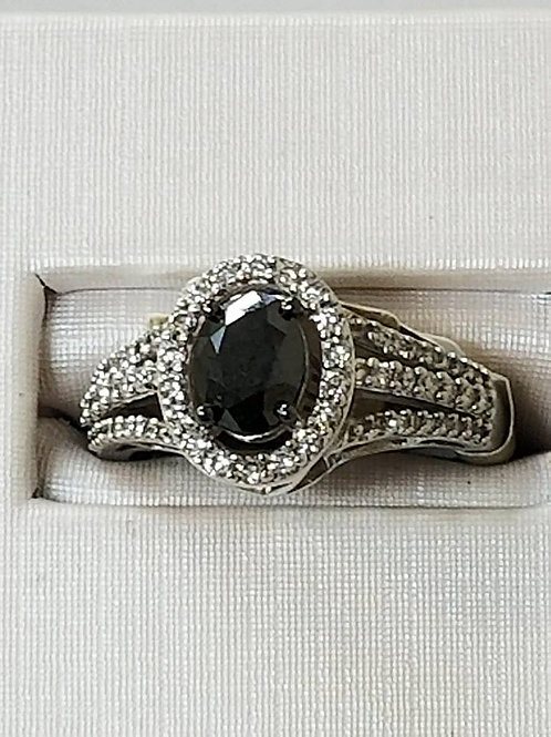 1.5ctw Black Diamond with White Diamond Halo in 14k White Gold