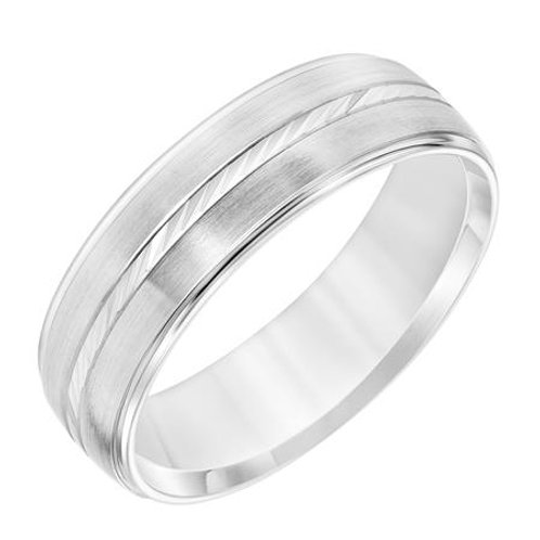 14k White Gold Men's Wedding Band with Brush Finish