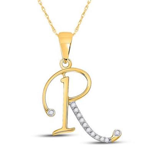 "10k Yellow Gold ""R"" Pendant With Diamonds"