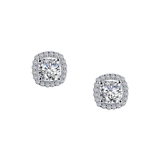 Sterling Silver Cushion Cut Halo Earrings