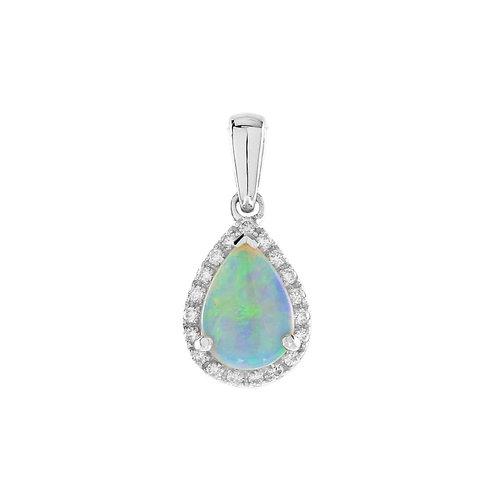 14kt White Gold Opal & Diamond Necklace