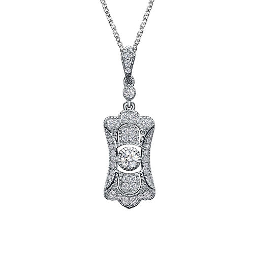 Sterling Silver Art Deco Inspired Necklace