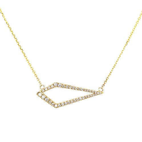 14k Yellow Gold Kite Shaped 0.31ct Diamond Pendant