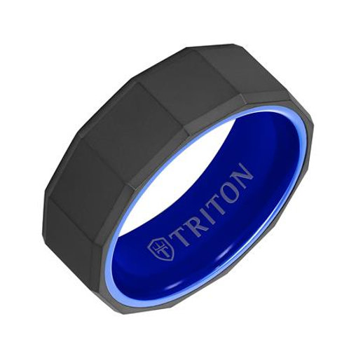 Black Tungsten Carbide and Ceramic Men's Wedding Band