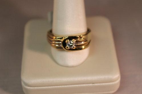 14k Yellow Gold Diamond Buckle Men's Ring