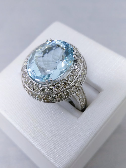 7.94ct Aquamarine & 1.90ctw Diamond Ring Set in 14k White Gold