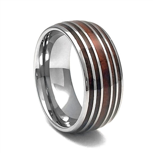 Men's Tungsten Carbide Wedding Band with Wood Inlay