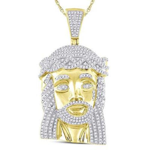 10kt Yellow Gold Diamond Jesus Face Pendant