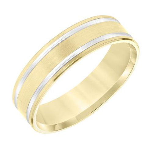 14k Yellow Gold with Rhodium Men's Wedding Band