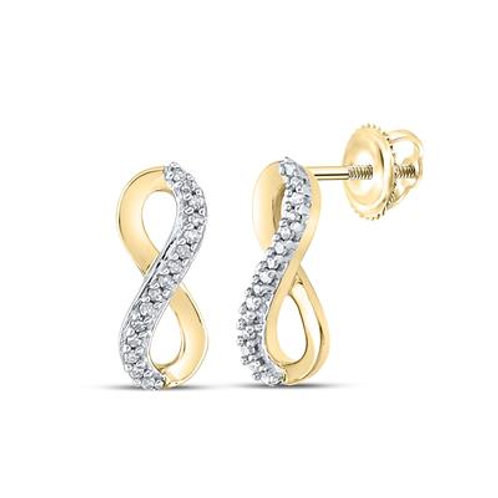 10k Yellow Gold Diamond Infinity Earrings