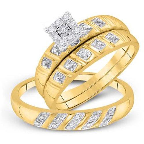 10kt Yellow Gold & Diamonds Trio Wedding Set