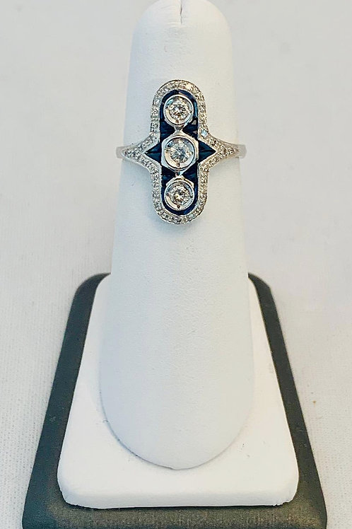 14k White Gold, Sapphire and Diamond Ring