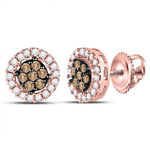 10k Rose Gold Earrings with White & Brown Diamonds