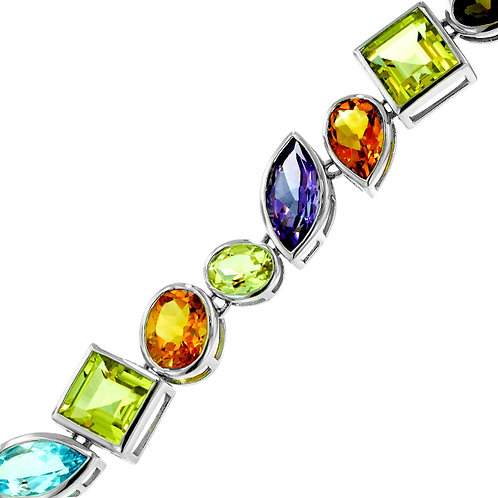 Sterling silver and multi-stone bracelet