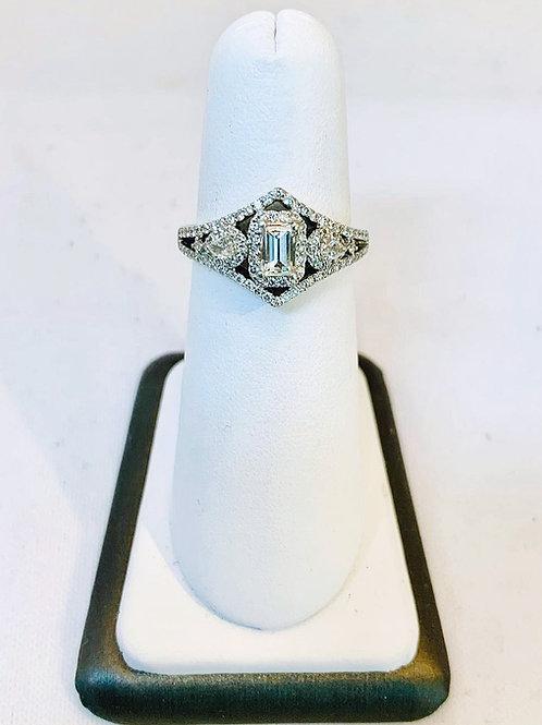 14k White Gold 1.31ct Emerald Cut Diamond Ring