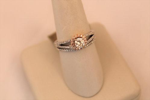 14kt White & Rose Gold Round Cut Diamond Engagement Set