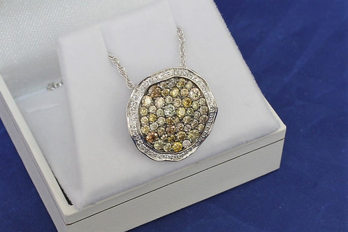 14k White Gold 1.33ct Multicolored Diamond Necklace