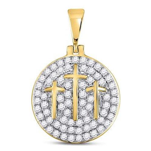 10kt Yellow Gold Diamond Trinity/Triple Cross Pendant