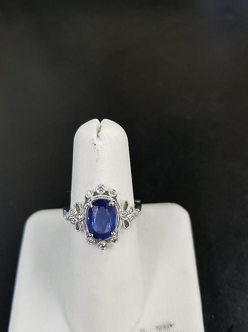 2.50ctw Blue Sapphire & White Diamond Accented Ring 14k White Gold