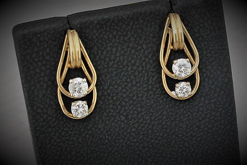 14k Yellow Gold 1.0ct Diamond Earrings