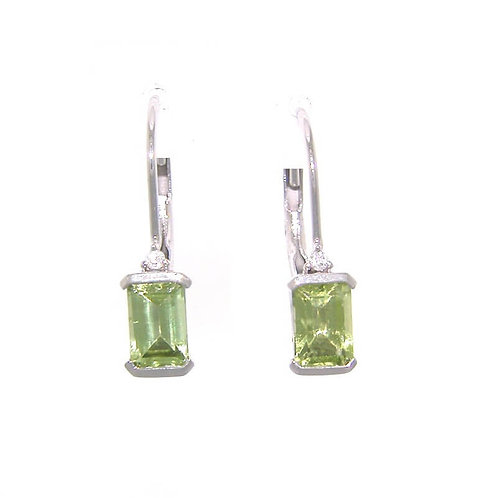 10kt White Gold Peridot Earrings With Diamond Accent