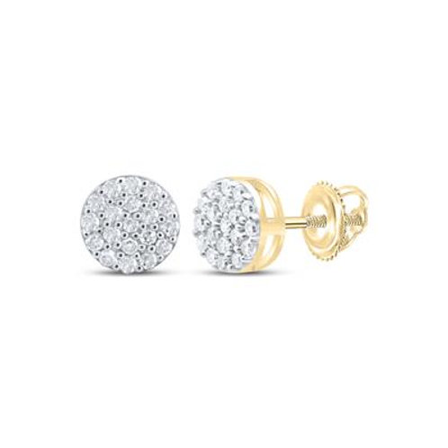 Yellow-tone Sterling Silver Round Diamond Cluster Earrings