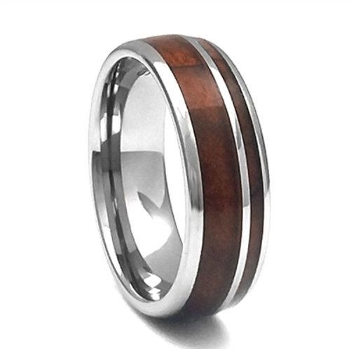 Men's Tungsten Carbide Wedding Band with Wood Inlay