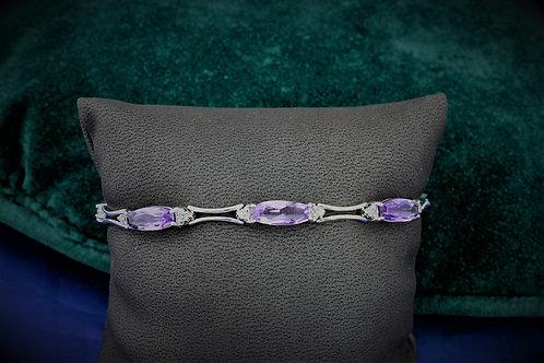 14k White Gold Amethyst & Diamond Bracelet