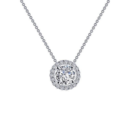 Sterling Silver Round Halo Necklace