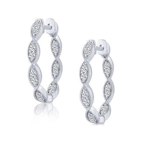 10k White Gold 0.50ct Diamond Hoop Earrings